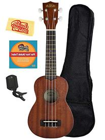 Kala KA-15S Mahogany Soprano Ukulele Bundle with Gig Bag,