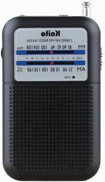 Kaito KA200 Pocket AM FM Radio Black