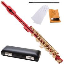 Mendini MPO-RL Red Lacquer Key of C Piccolo with Gold Keys