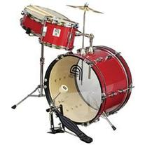 Percussion Plus 3 Piece Junior Kid's Drum Set - Red