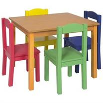 Best Choice Products Kids Wooden Table and 4 Chair Set
