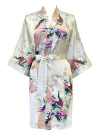 Old Shanghai Women s Kimono Short Robe - Peacock   Blossoms aaa4d6ed1
