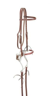 Tough 1 King Series Browband Bridle with Hackamore, Dark Oil