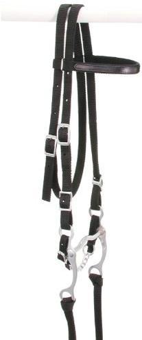 Tough 1 King Series Nylon Browband Bridle, Black, Horse