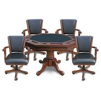 Hathaway Kingston 3-in-1 Poker Table with 4 Chairs, Walnut