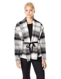 BB Dakota Women's Kinley Fuzzy Wool Jacket, Black, Large