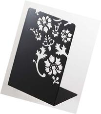 Kirie - Pair of Black Metal Bookends with Flower Cutout
