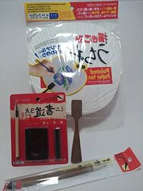 Kit with 2 Sumi - e Wool Brushes, Bamboo Handles, Paper Fan