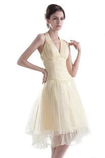 Dresstells® Knee-length Halter Dress V-neck Organza