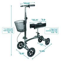 Knee Scooter by Vive - Steerable Knee Walker for Broken Leg