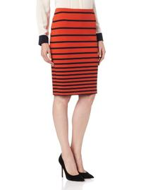 HALSTON HERITAGE Women's Knit Pencil Skirt, Dark Fire Stripe