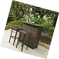 Crosley KO70009BR 3-Piece Palm Harbor Outdoor Wicker Bar Set