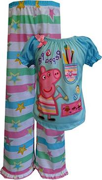 Peppa Pig Girl's Peppa Pig Short Sleeve Pant Set, Blue, 2T