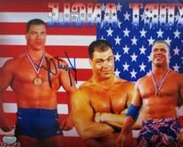 Kurt Angle WWE Wrestling Signed 8x10 American Flag
