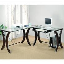 Coaster L-Shape Home Office Computer Desk, Cappuccino Finish