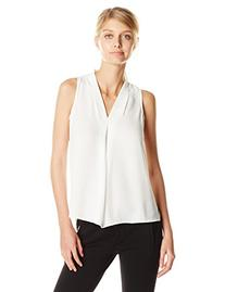 Vince Camuto Women's S/L V Blouse with Inverted Front Pleat