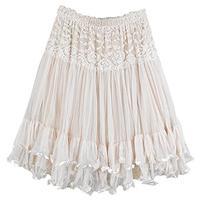 DEHANG Womens Lace Gauze Double Layer Elastic Waist Maxi