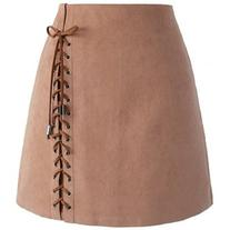 Chicwish Lace-up Tribe Bud Skirt in Brown