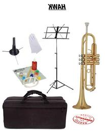Hawk Lacquer Bb Trumpet School Package with Case Music Stand