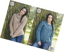 King Cole Ladies Super Chunky Knitting Pattern Round & Polo