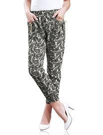 Allegra K Lady Floral Paisley Print Geometric Jogger Pants