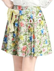 Allegra K Lady Floral Print Pleated Summer Lined Skirt