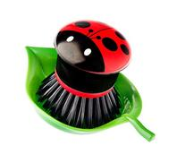 Vigar Ladybug Palm Dish Brush With Holder, 5-3/4-Inches by 3