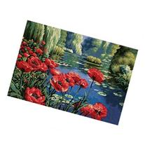 Lakeside Poppies Needlepoint Kit-16X11 Stitched In Thread