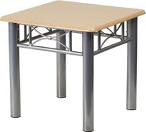 Natural Laminate End Table Silver Steel Frame