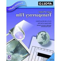 Apollo Transparency Film for Laser Printers, Black on Clear