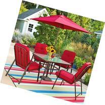 Mainstays Lawson Ridge 5-Piece Patio Dining Set, Red, Seats