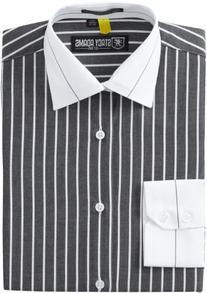 Stacy Adams Men's Le Mans Dress Shirt, Ebony, 17.5 - 36/37