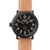 Men's Shinola 'The Runwell' Natural Leather Strap and Black