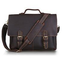 Kattee Men's Twin Buckle Genuine Leather Messenger Bag