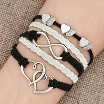 LovelyJewelry Leather Wrap Bracelets Girls Double Hearts