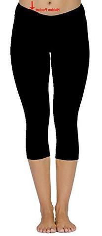 ABUSA Womens Sports Leggings Under Knee YOGA Tights with