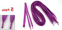 """5 Pairs 45"""" Length Plastic Tips Glittery Shoestrings Violet"""