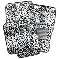 OxGord 4pc Leopard Carpet Floor Mats, Universal Fit, White