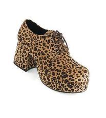 Men's Leopard Print Pimp Adult Shoes - Tan - Small
