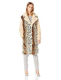 Glamorous Women's Leopard and Solid Mix Coat, Cream/Leopard