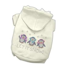 Let it Snow Penguins Rhinestone Dog Hoodie Cream/Extra Small