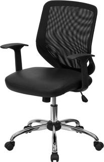 Flash Furniture LF-W95-LEA-BK-GG Mid-Back Black Office Chair