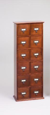 Library Card File Multimedia Cabinet Walnut