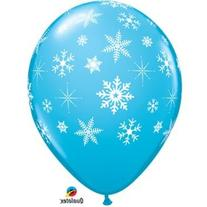 "Light Blue 11"" Latex Balloon with Falling White Snowflakes"