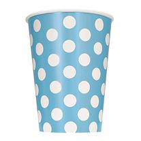 12oz Light Blue Polka Dot Paper Cups, 6ct