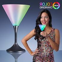 Light Up Frosted Martini Glasses with Black Base & Color