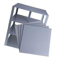"Premium Light Gray Stackable Base Plates - 4 Pack 10"" x 10"""