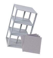 "Premium Light Gray Stackable Base Plates - 4 Pack 6"" x 6"""