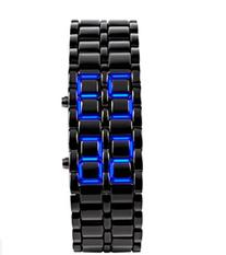 Domire boy Blue Light Black Metal Strap Lava Style Digital