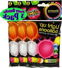 illooms Light Up LED Balloons 5 Pack Party Pack Bundle - 3